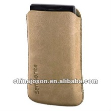 2012 business fashion handmade camel pu leather cell phone case with strap