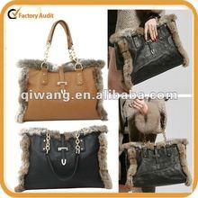 the new arrival 2012 winter designer ladies real fur handbags fashion guangzhou