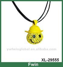 2012 popular smile casting & rhinestone necklace for kids