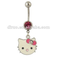 14 Gauge Belly Bar Lovely Cat Enamel and Pink Gemstone Dangle Belly Ring C2142