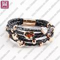 hottest trançada pulseira de couro preto de aço inoxidável