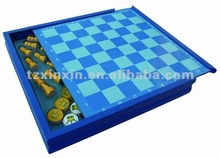 wooden blue color chess box chess checker backgammon game set 8806