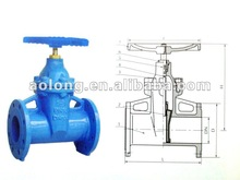 DIN3352 Cast Iron Flanged Ends Non Rising Stem Resilient Soft Seated Gate Valves