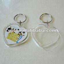 promotional clear heart shape blank key chain/key holder