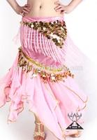 Wholesale new Arabic hot long pink belly dance chiffon skirts (QC1003)