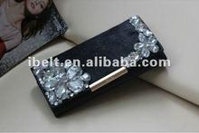 lady fashion genuine leather hair crystal rhinestone wallet