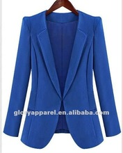 women fashion top quality blue blazer with lining