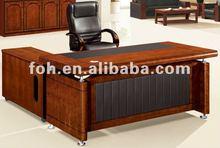 2013 L-shaped dark mahogany office table (FOHS-A1808)