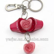 2012 Promotional Acrylic Rose Flower Shape Metal Keychain(JW-2095)