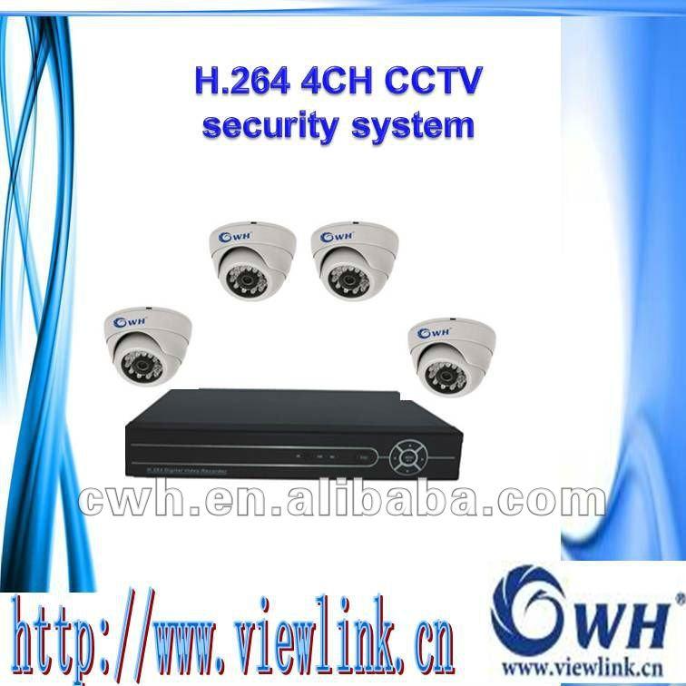 Economico 4ch h. Dvr 264 e 4 telecamere dome cctv kit home sistema di sorveglianza con tutti i fili, adattatori di alimentazione, hard disk e così via