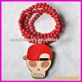 crâne hip hop casquette de baseball en bois de bonne pendentif collier en bois