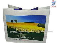 CMYK colors print laminated 100% reusable woven shopping tote bag(HL-3023)