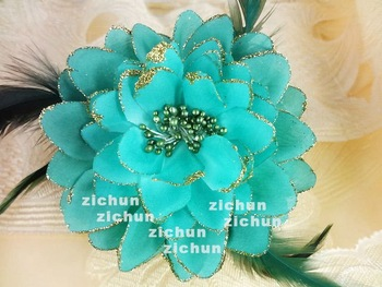 """Plain Glitter Feather Flower Hair Claw Clip with stamen Fashion Accessory 5"""""""