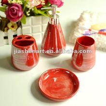 luxury spa red ceramic bathroom accessories