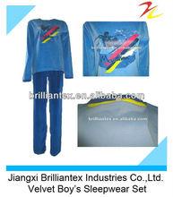 Fashion High Quality Heat Transfer Printing Velvet Sleepwear For Boy