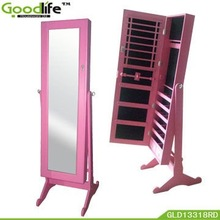 Pink wood bedroom armoires with mirror front