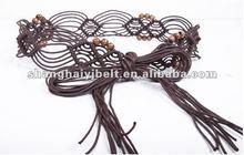 women coffee handmade beaded braided waxed cotton belt YJ-HY0052-2