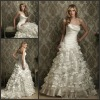 AL-8864 Beautiful Strapless Tiered Modest Wedding Dresses With Flowers