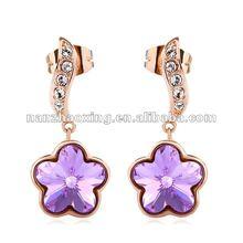 18K Gold-plated Flower Stud Earrings Embedded Swarovski Crystals