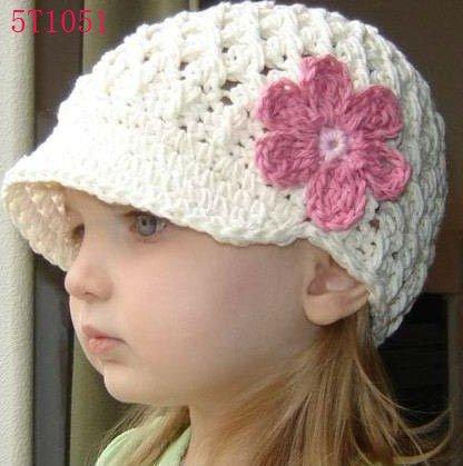 hecho a mano flor bebé ganchillo sombrero de lana de bebé de punto ...