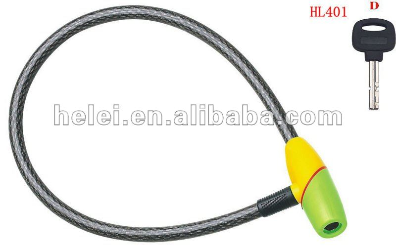 HL-401 GOOD QUALITY new arrial steel cable lock with keys for bicycle and motorcycle