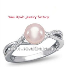Platinum plated and diamond accent freshwater cultured pearl ring