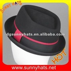 Black with red band fedora hat