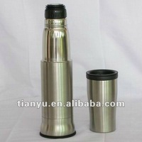 Magic design vacuum insulated stainless steel water thermos 750ml with built-in mug