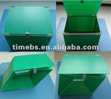 Collapsible blue corrugated plastic packaging box with lid
