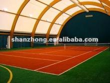 tennis ball machine with atrificial grass field