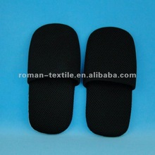Black All Cotton Soft Sole Washable Indoor Slippers