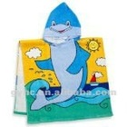 100% cotton kids velour reactive printing beach towel with hood