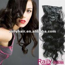 Top Quailty indian human hair clip in hair extensions for black women
