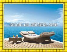 HDPE rattan wicker patio sun lounge bed SCLC-037
