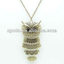 Hot Sale Trendy Alloy Jewelry Owl Shape Sweater Neckalce For Ornament