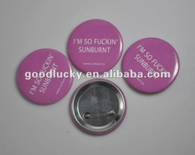 2012 new arrivalling OEM printed tin badge with safety pin