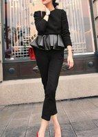 YIGELILA Ladies Fashion Plus Size Ruffle PU Winter Tops Latest Design