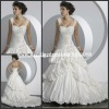 WD1383 Sweetheart Drap Rouched Sweetheart With Attachable Straps Embroidery Wedding Dress