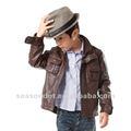 los niños de cuero de la pu chaqueta de abrigo