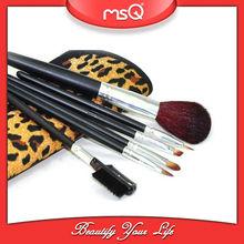 Wholesale 6pcs mini travel cosmetic brush set with Panther print makeup bag