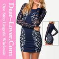 Billige großhandel sexy navy farbblock spitze jahrgang frauen engen latex-kleid