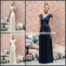 BMD153 Elegant V-Neck Empire Cap Sleeves Long Satin 2012 Royal Blue Bridesmaid Dress