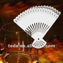 Fan Shape Place Cards On Wine Glass