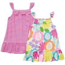 Stripy and Allover Print Sleeveless Girls Summer Dresses