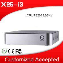 factory price!! XCY OEM mini gaming pc x25-i3 i3 3220 3.2Ghz thin client fan desktop mini home preminum no noise less space