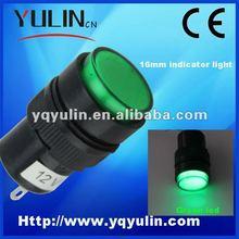 50pcs/lot 16mm plastic green lamp Led 110v pilot 12v signal light