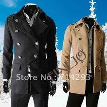 Fashion Men's Double-breasted Coat Winter Woolen Blends Long coat FJ-3491