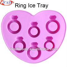 Wholesale Ice Cube Tray,Diamond Ring Shape,100% TPR,14*11.2*1.8CM,Pink