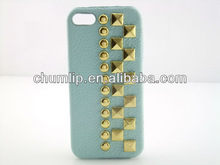 Bule 2012 hot popular design PU studs case For iphone 5
