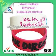 custom wide debossed silicone hand band/wristband/bracelet